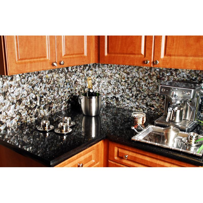 Agape Tile Black Mother Of Pearl Seashell Seamless Kitchen Backsplash
