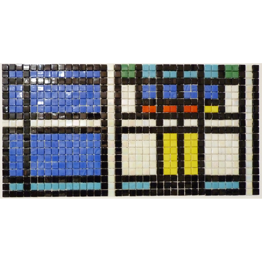 "Frank Lloyd Wright Skylight Glass Mosaic Waterline or Border 8.25"" High, 1 Lineal Foot"