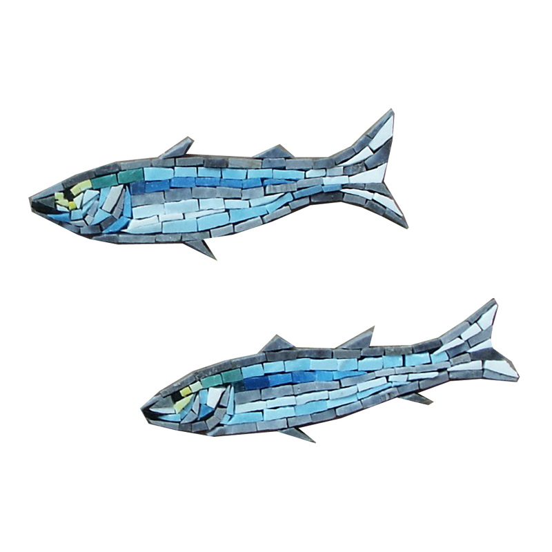 "2 Glass Minnows Left Handcut Glass Mosaic Pool Mural 6"", 1 set of 2"