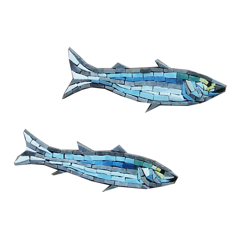 "2 Glass Minnows Right Handcut Glass Mosaic Pool Mural 6"", 1 set of 2"