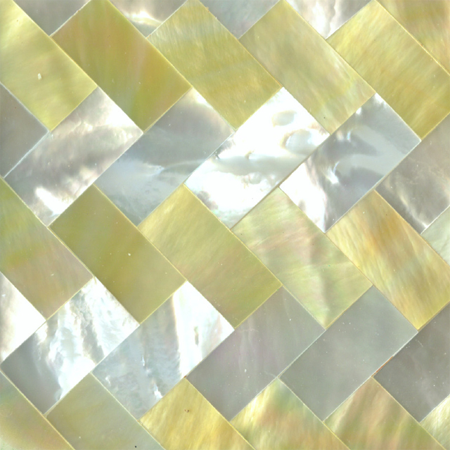 "Gold & White Mother of Pearl Zig Zag Shell Tile 2"" x 2"", 1 Tile"