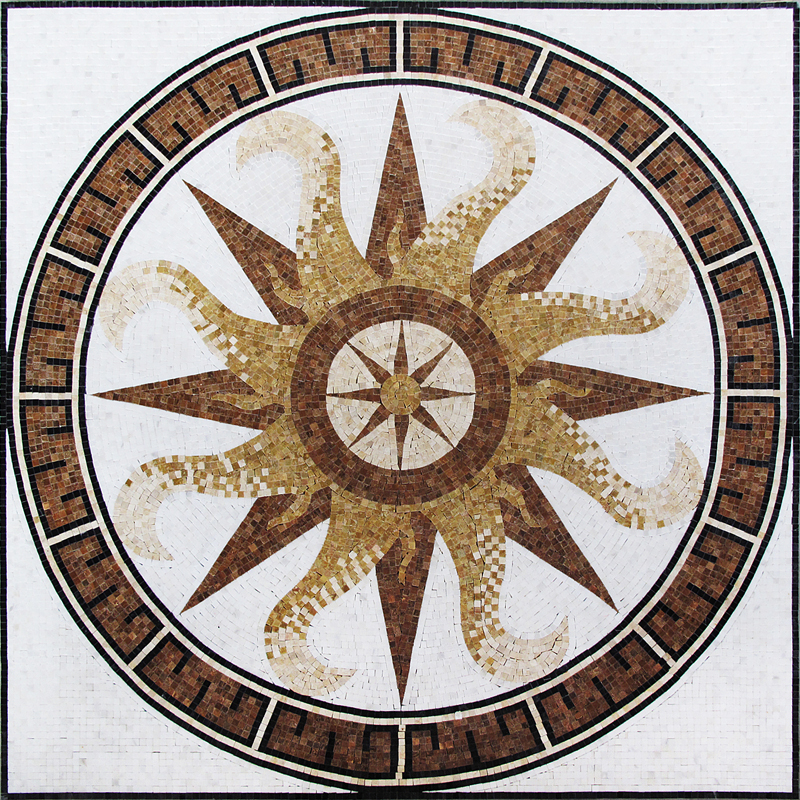 "Gold Compass Stone Handcut Mosaic Medallion 60"" Square, 1 piece"