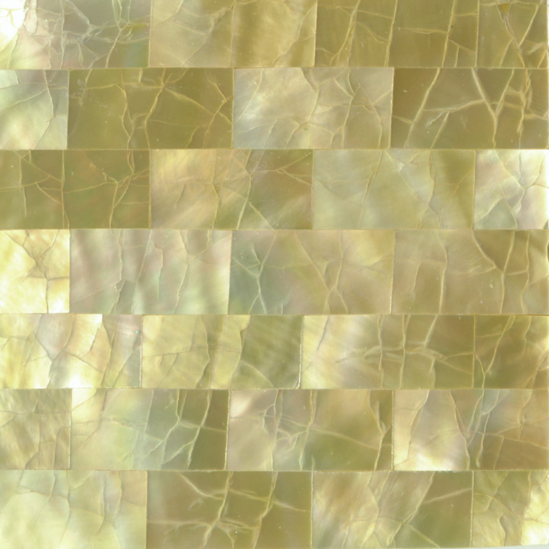 "Gold Mother of Pearl Brick Crackle Shell Tile, 2x2"", 1 Tile"