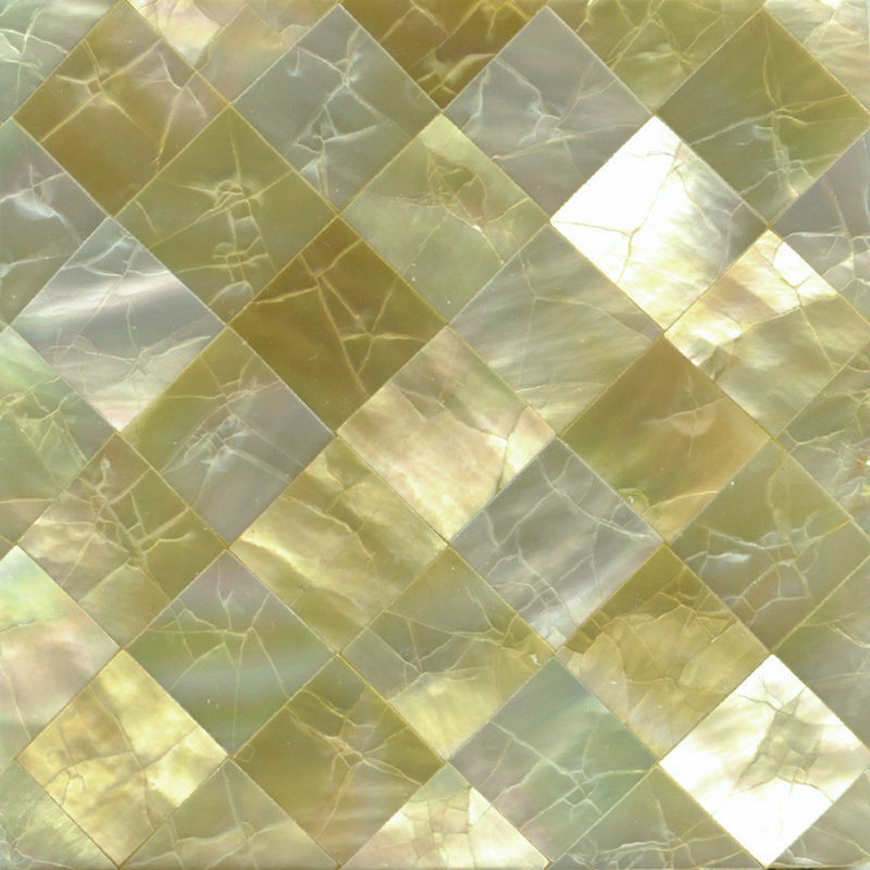 "Gold Mother of Pearl Diamond Crackle Shell Tile, 2x2"", 1 Tile"