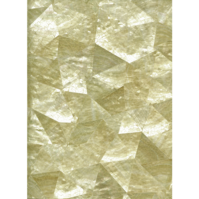 "Gold Mother of Pearl Random Crackle Shell Tile, 12x12"", 1 Tile"