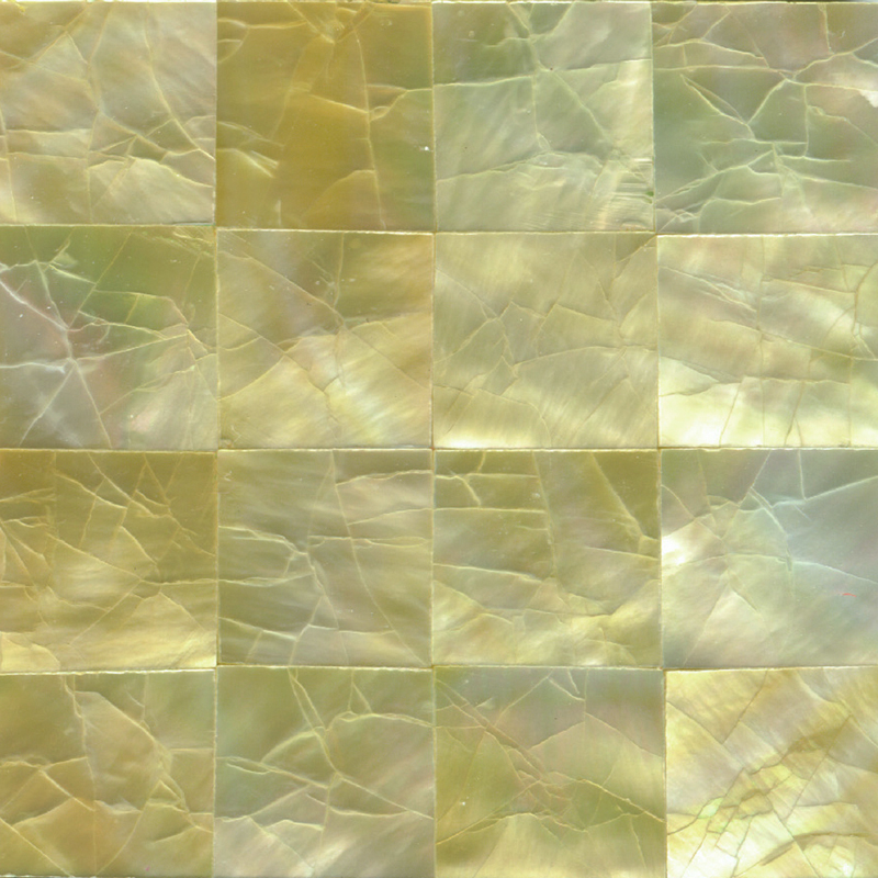 "Gold Mother of Pearl Squares Crackle Shell Tile, 2x2"", 1 Tile"