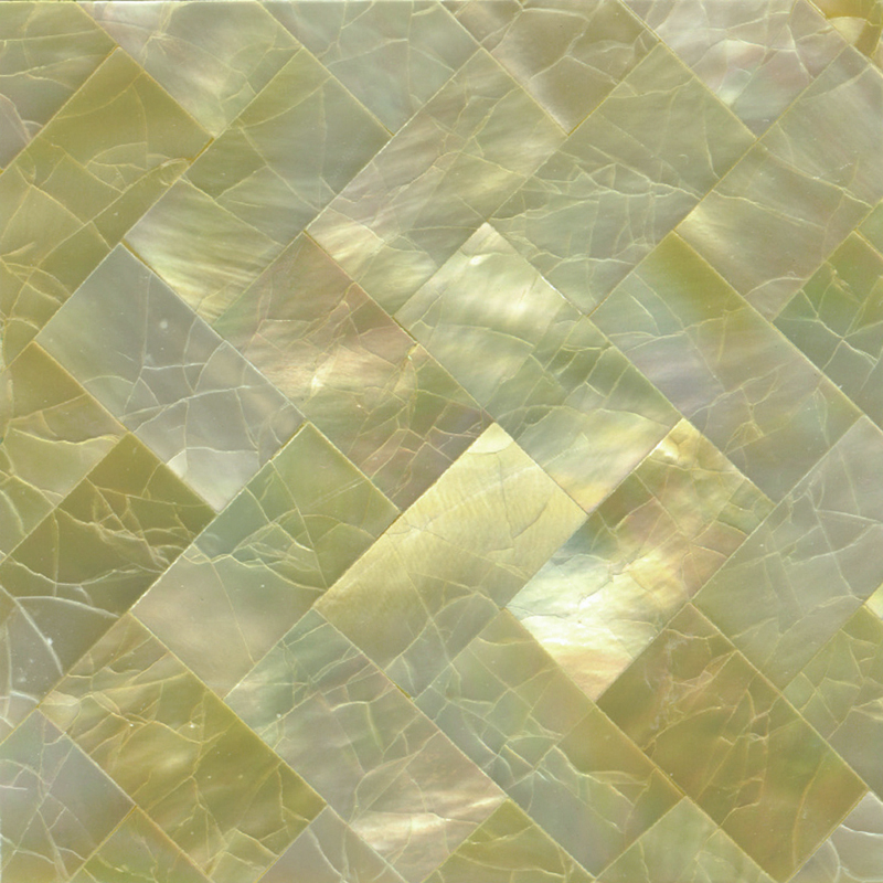"Gold Mother of Pearl Weave Crackle Shell Tile, 2x2"", 1 Tile"