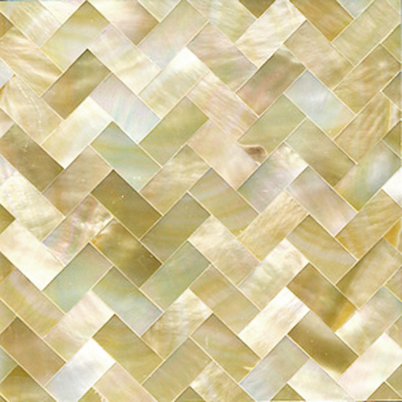 "Gold Mother of Pearl Weave Shell Tile, 4x4"", 1 Tile"