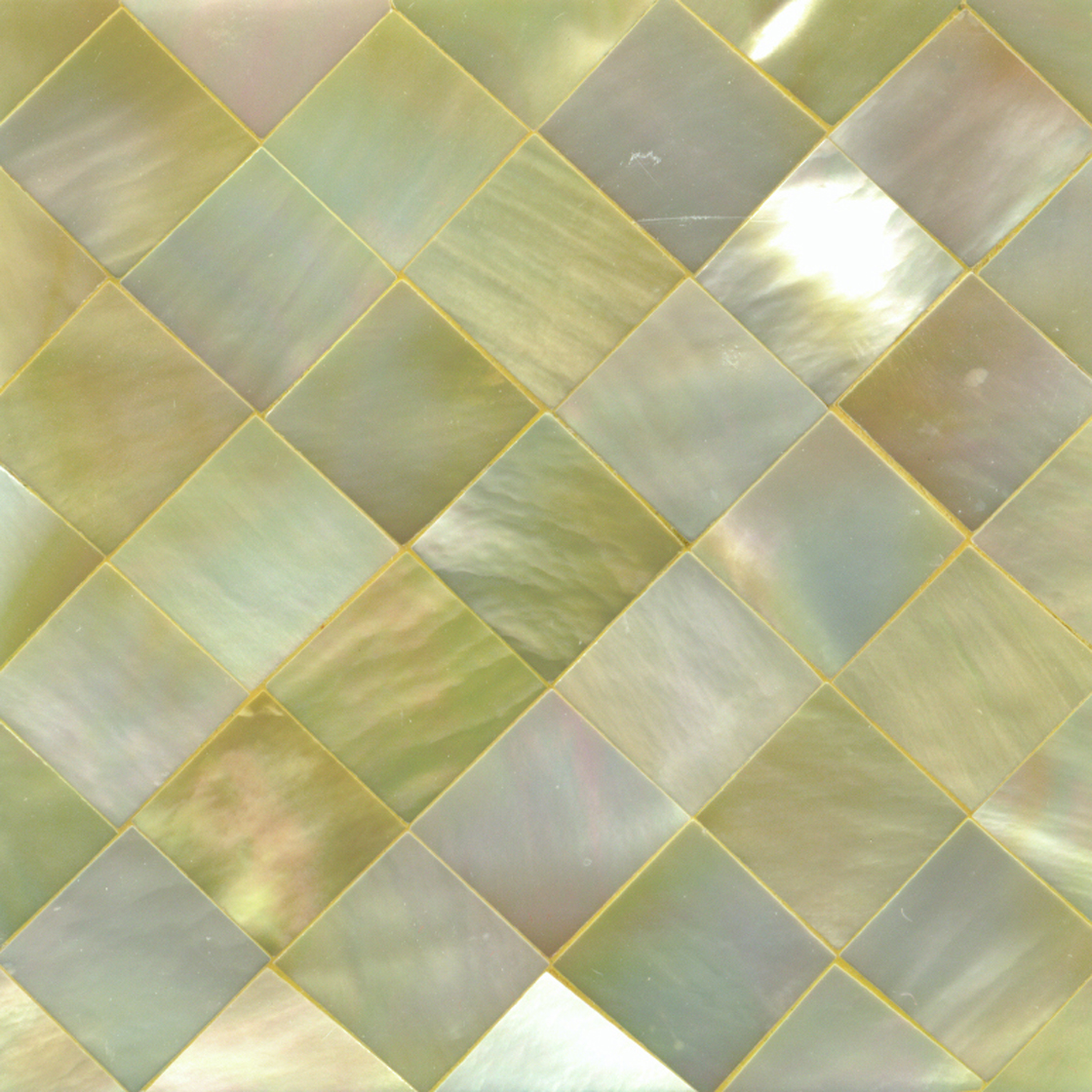 "Gold Mother of Pearl Diamond Shell Tile, 2x2"", 1 Tile"