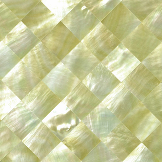 "Gold Mother of Pearl Diamond Shell Tile, 4x4"", 1 Tile"