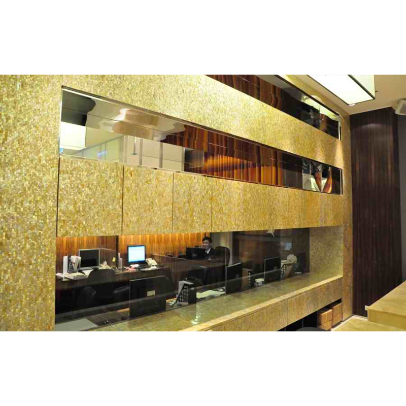 Gold Mother of Pearl Seamless Seashell Mosaic Office Wall