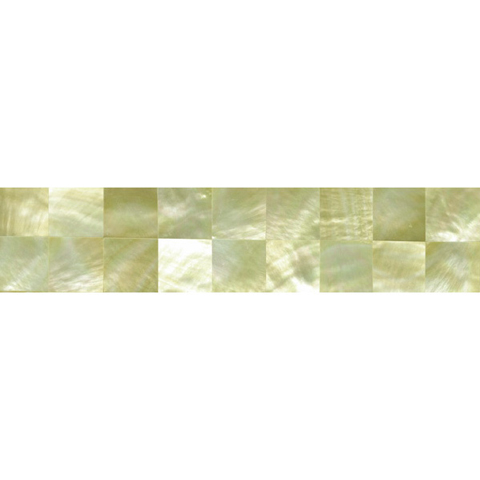 "Gold Mother of Pearl Squares Shell Tile, 1x6"", 1 Tile"