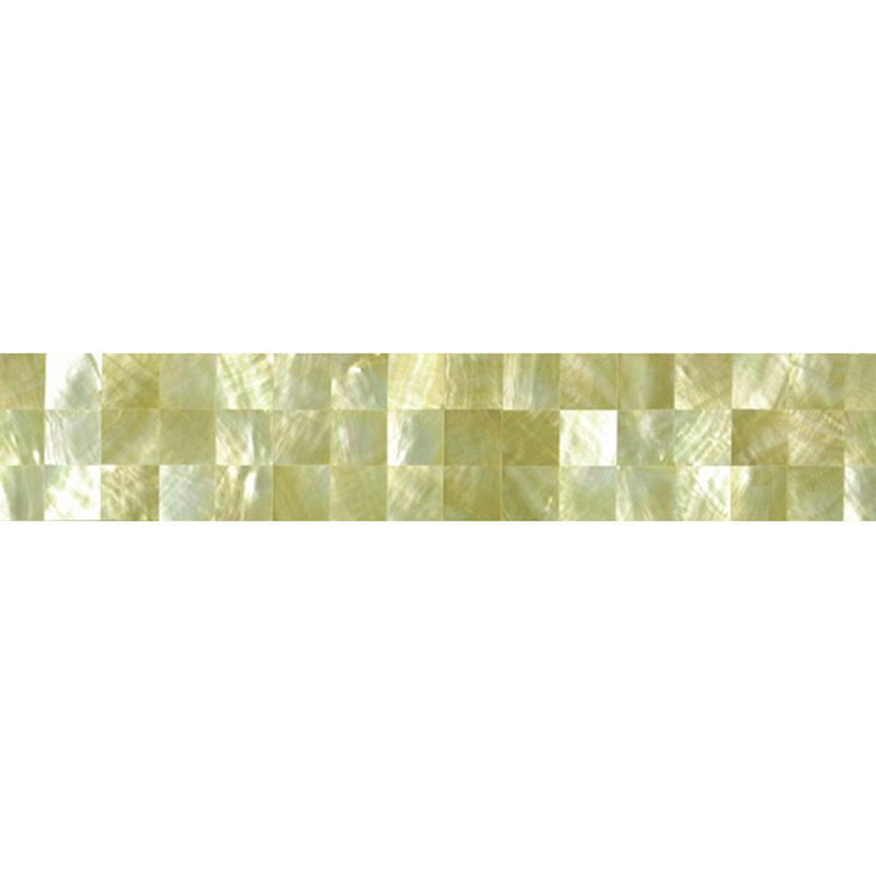 "Gold Mother of Pearl Squares Shell Tile, 2x12"", 1 Tile"