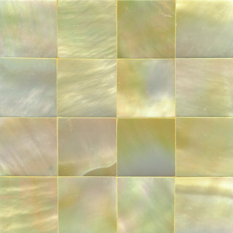 "Gold Mother of Pearl Squares Shell Tile, 2x2"", 1 Tile"