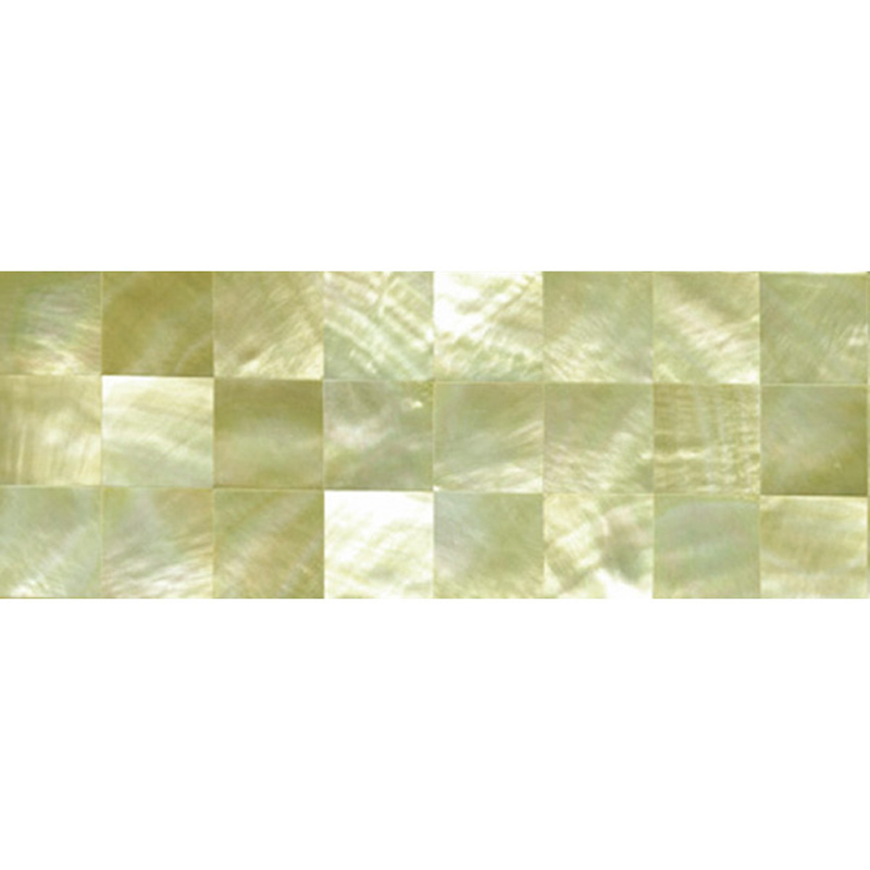 "Gold Mother of Pearl Squares Shell Tile, 2x6"", 1 Tile"