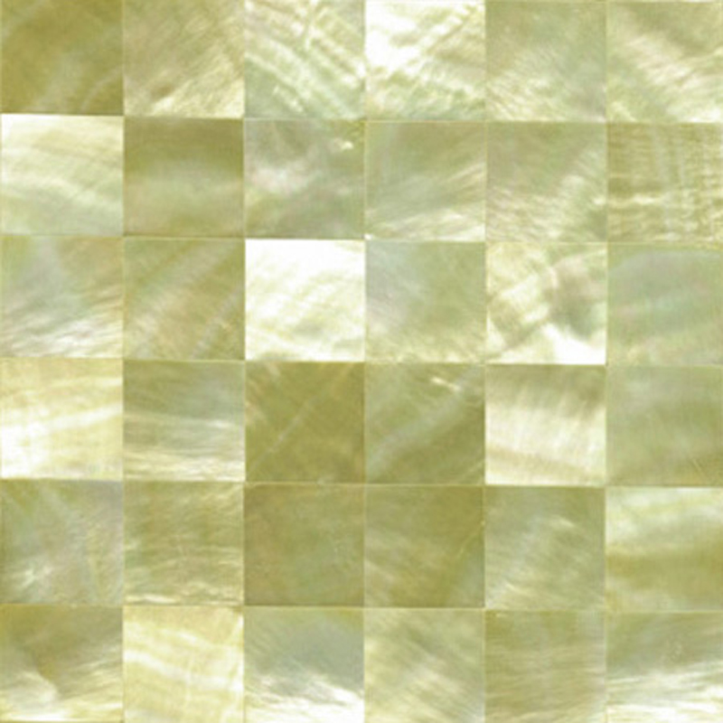 "Gold Mother of Pearl Squares Shell Tile, 4x4"", 1 Tile"