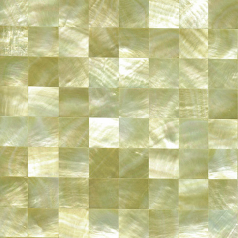 "Gold Mother of Pearl Squares Shell Tile, 6x6"", 1 Tile"