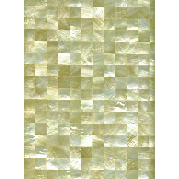 "Gold Mother of Pearl Squares Shell Tile, 12x12"", 1 Tile"