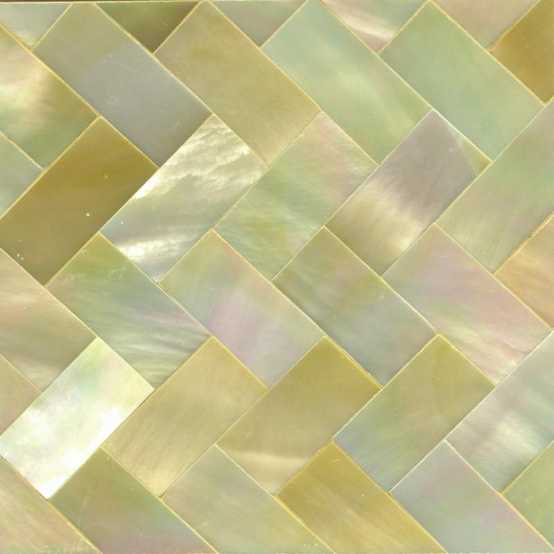 "Gold Mother of Pearl Weave Shell Tile, 2x2"", 1 Tile"