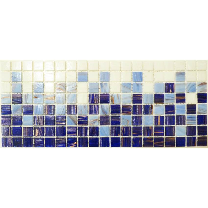 "Gradient Greek Key Glass Mosaic Waterline or Border 6.75"" High, 1 Lineal Foot"