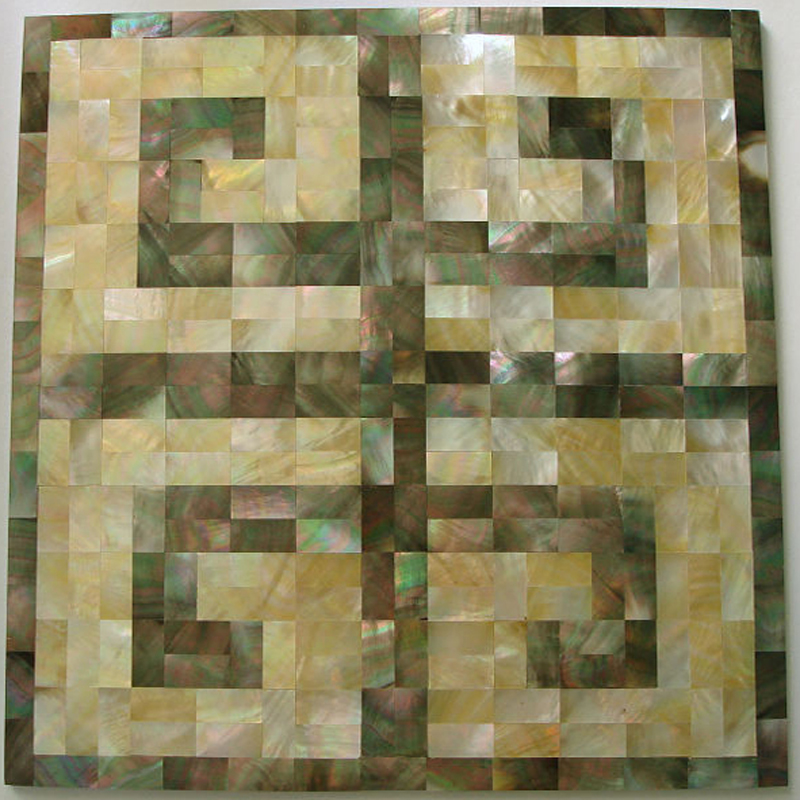 "Greek Key Black & Gold Mother of Pearl Seamless Shell Mosaic Tile 11.8x11.8"", 1 tile"