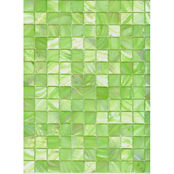 "Apple Green River Shell Mosaic Sheet, 20mm-3/4"", 1 tile"