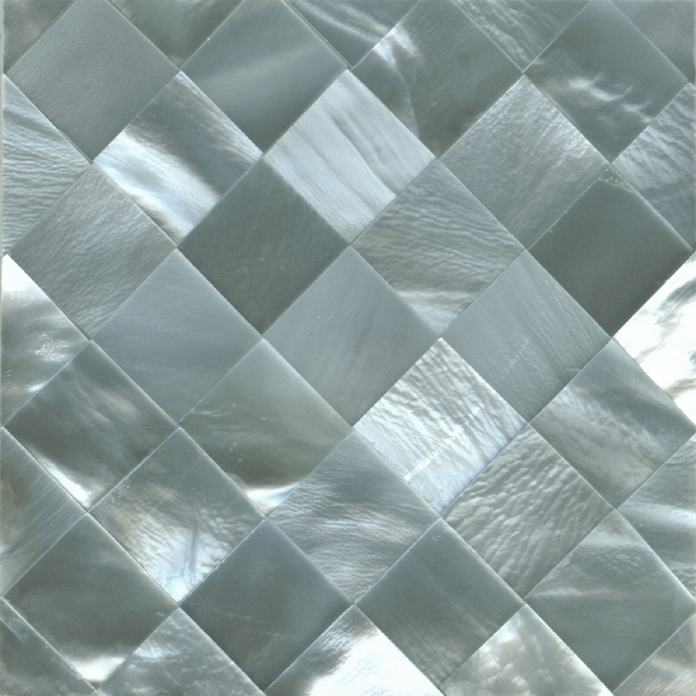 "Hammershell Gray Tint Diamond Shell Tile, 2x2"", 1 Tile"