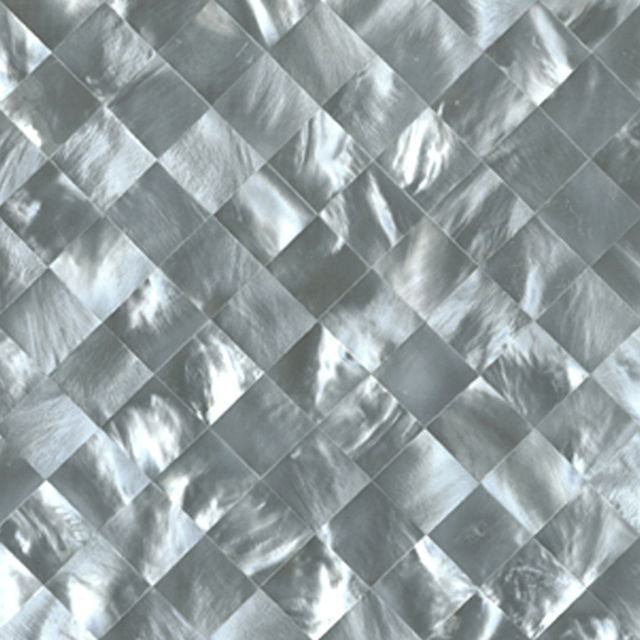 "Hammershell Gray Tint Diamond Shell Tile, 6x6"", 1 Tile"