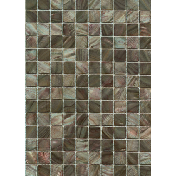 "Greyed Brown River Shell Mosaic Sheet, 20mm-3/4"", 1 tile"