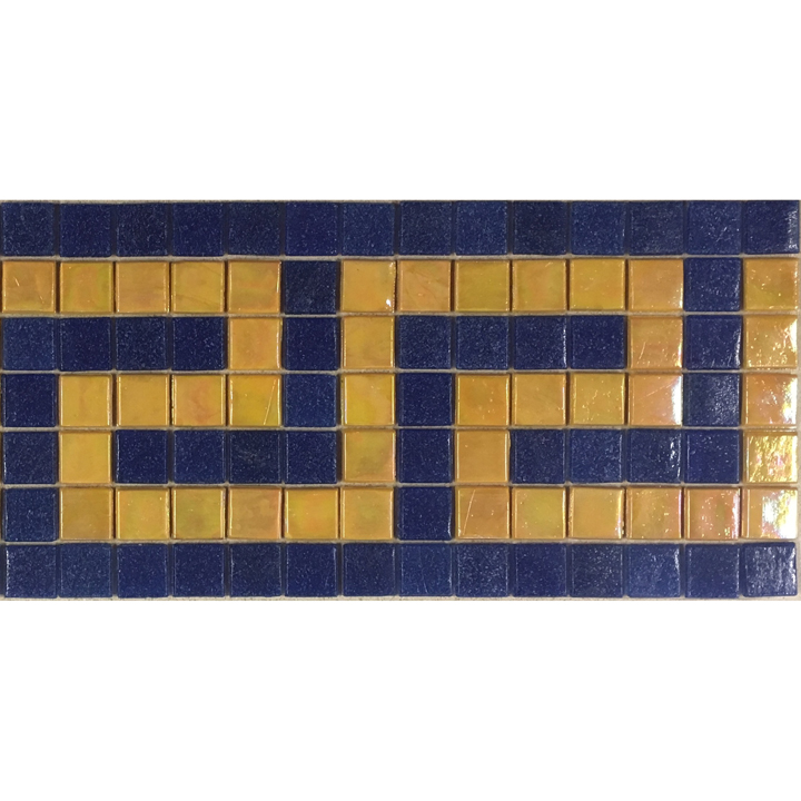 "Mango Greek Key Dark Cobalt Greek Key Glass Mosaic Waterline or Border 5.5"" High, 1 Lineal Foot"