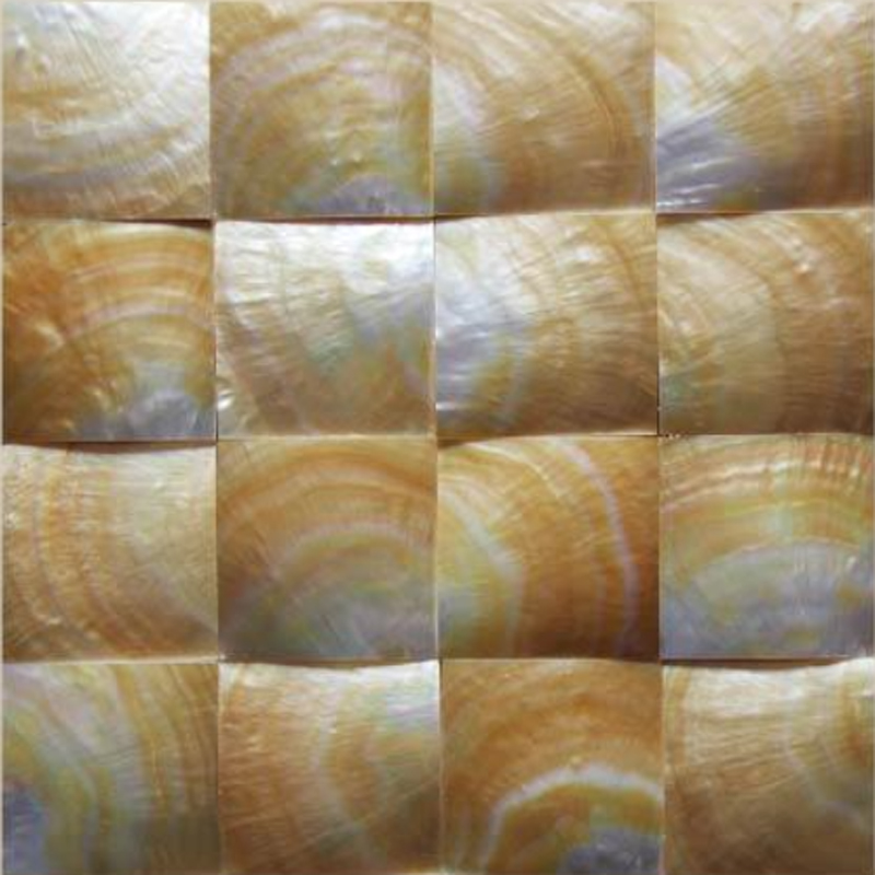 "Guscio d' Oro Gold Mother of Pearl Geometric Squares Seashell Tile, 11.81"" x 11.81"", 1 Tile"