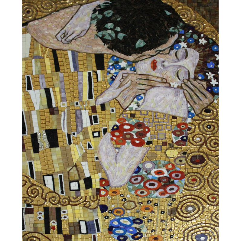 The Kiss Klimt Handcut Glass Mural, 1 mural