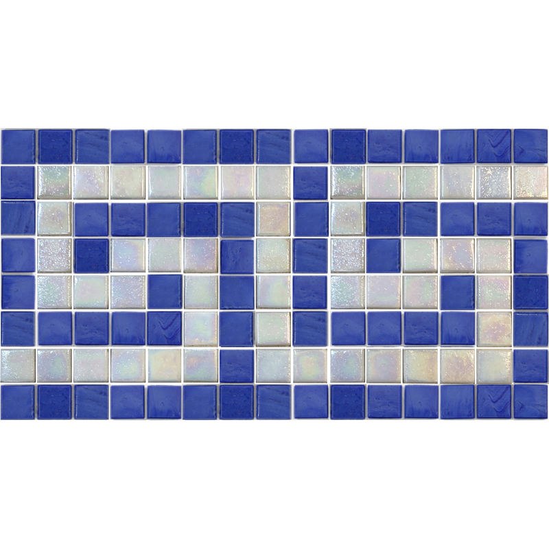 "Infinity & Iridescent White Clasp Greek Key Glass Mosaic Waterline Border 6.5"" High, 1 Lineal Foot"