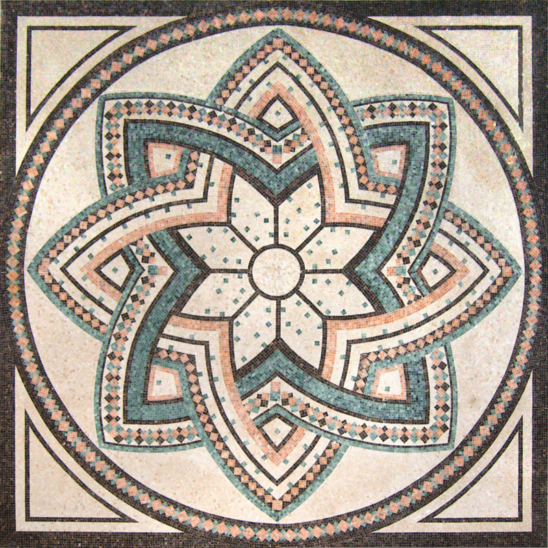 "Intricate Handcut Stone Mosaic Medallion 60"" Square, 1 piece"