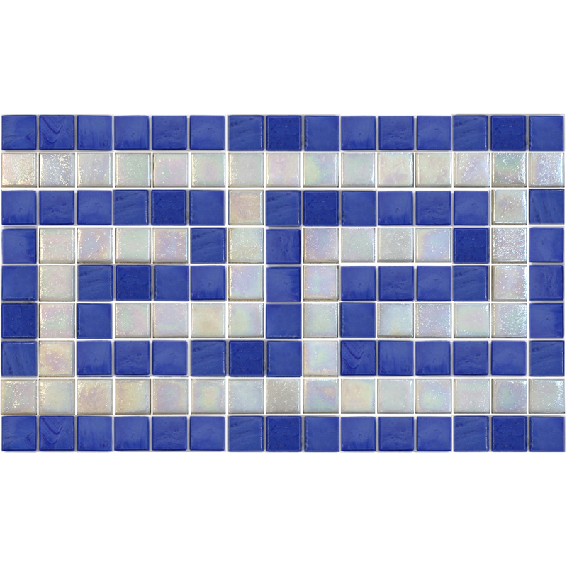 "Infinity & Iridescent White Greek Key Glass Mosaic Waterline or Border 7.25"" High, 1 Lineal Foot"