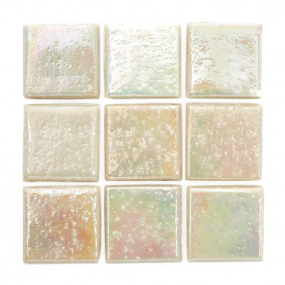 "Ivory Kolorines Metalica Glass Mosaic Tile, 3/4"" x 3/4"" - 20mm, 1 square foot"