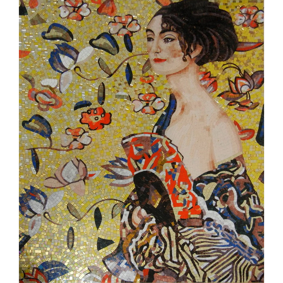 Lady with a Fan Klimt Handcut Glass Mural, 1 mural