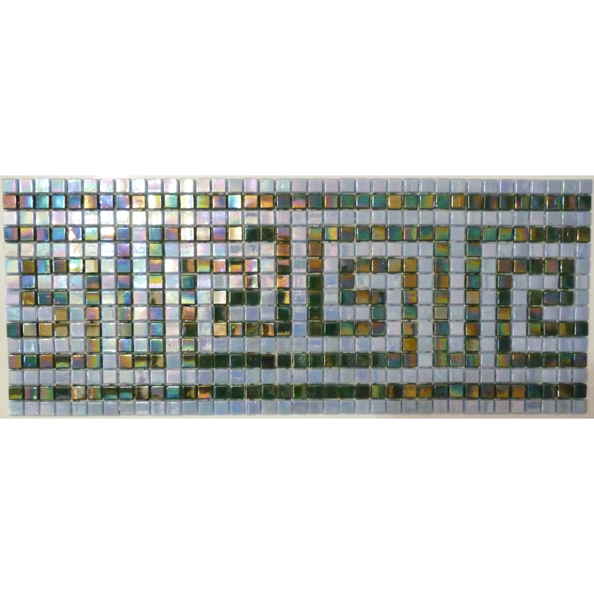 "Knossos Greek Key Glass Mosaic Waterline or Border 6.5"" High, 1 Lineal Foot"
