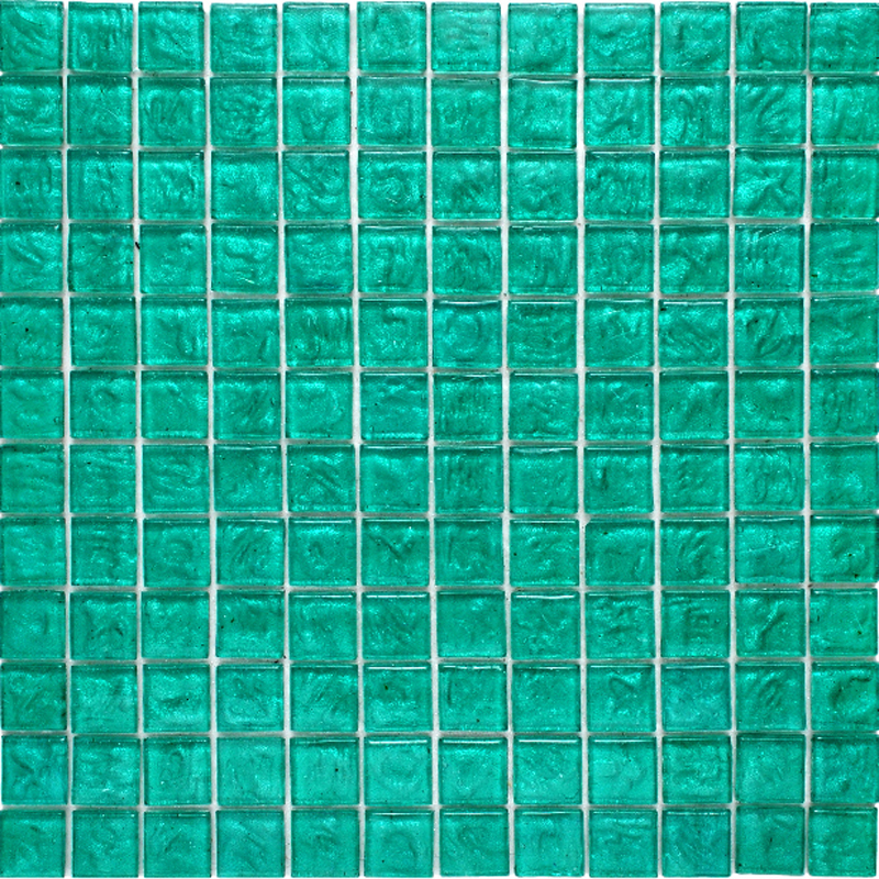 "Kolorines Lumina Aquamarine Blue Glass Mosaic Tile, 1"" x 1"" - 25mm, 1 square foot"