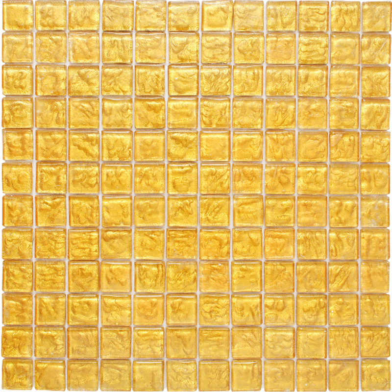 "Kolorines Lumina Gold Glass Mosaic Tile, 1"" x 1"" - 25mm, 1 square foot"