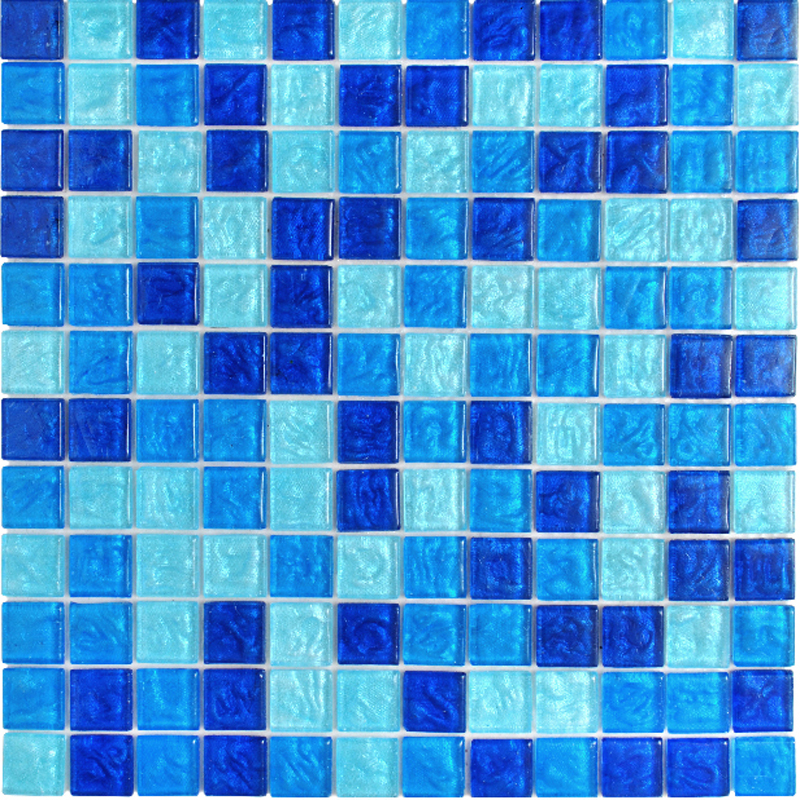 "Kolorines Lumina Lumiix Blue Blend Glass Mosaic Tile, 1"" x 1"" - 25mm, 1 square foot"