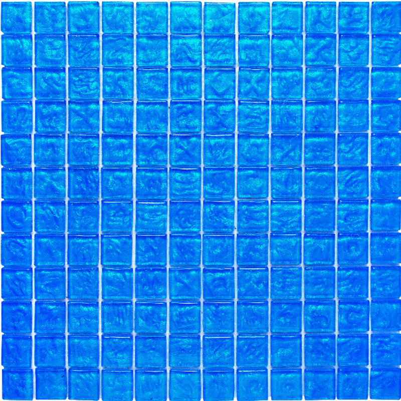 "Kolorines Lumina Maya Blue Glass Mosaic Tile, 1"" x 1"" - 25mm, 1 square foot"