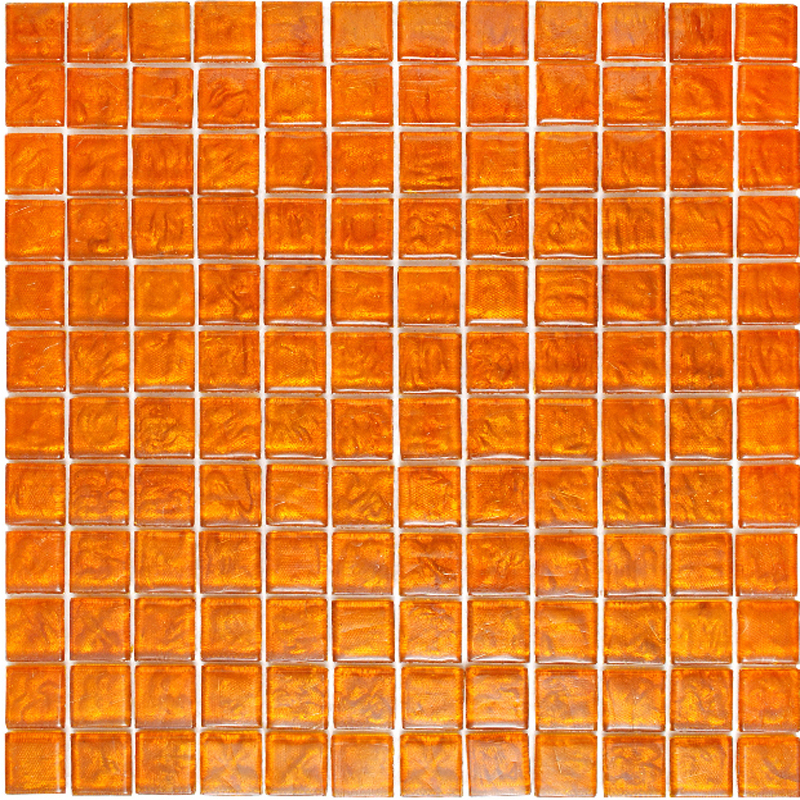 "Kolorines Lumina Orange Ambar Glass Mosaic Tile, 1"" x 1"" - 25mm, 1 square foot"