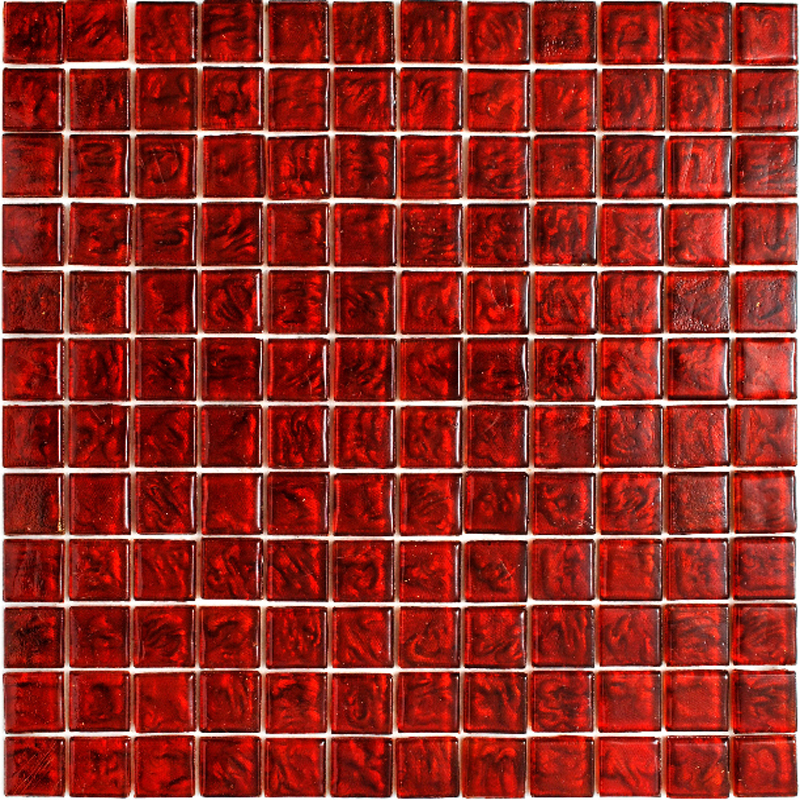 "Kolorines Lumina Red Wine Glass Mosaic Tile, 1"" x 1"" - 25mm, 1 square foot"