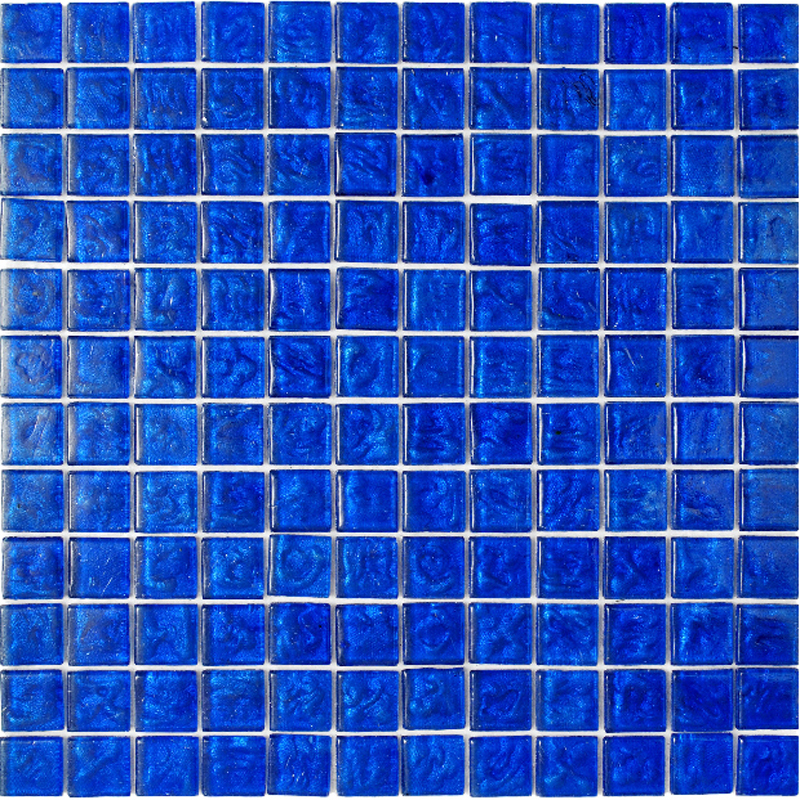"Kolorines Lumina Sapphire Blue Glass Mosaic Tile, 1"" x 1"" - 25mm, 1 square foot"