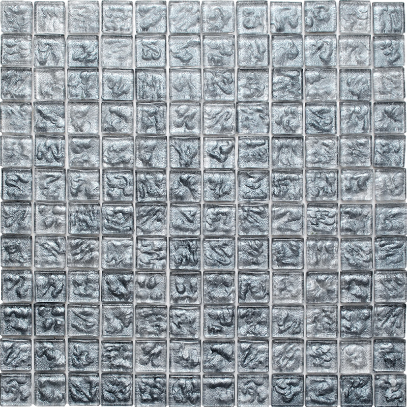 "Kolorines Lumina Silver Glass Mosaic Tile, 1"" x 1"" - 25mm, 1 square foot"
