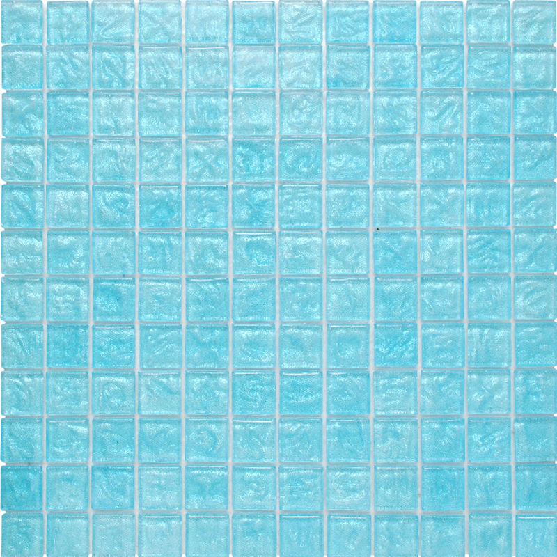 "Kolorines Lumina Topaz Blue Glass Mosaic Tile, 1"" x 1"" - 25mm, 1 sheet"
