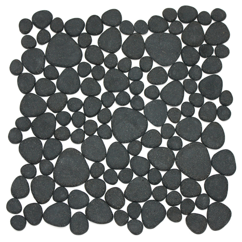 Volcanica Matte Kolorines Vitrogota Glass Pebble Mosaic Tile, 1 sheet