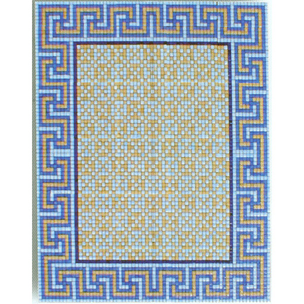 "Greek Key Glass Mosaic Carpet 3/4"" - 20mm, 1 piece 69"" x 82"""