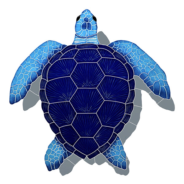 "Loggerhead Turtle Blue Large with Shadow Ceramic Mosaic Swimming Pool Mural 22"" x 20"", 1 piece"